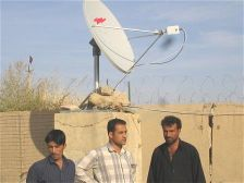 Completion of installation of small Andrew satellite internet antenna