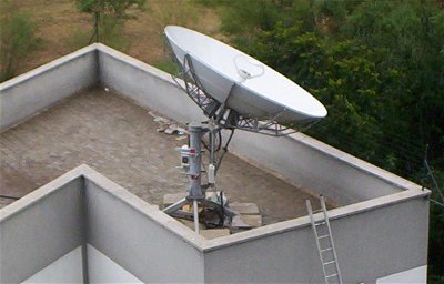 Roof mounted VSAT dish installation in Kenya, Africa