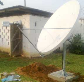 Ku band VSAT satellite dish installation in Liberia