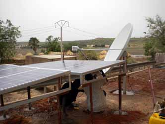 Photovoltaic (PV) solar panels providing electrical power for VSAT installation