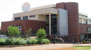 Office building with satellite dish