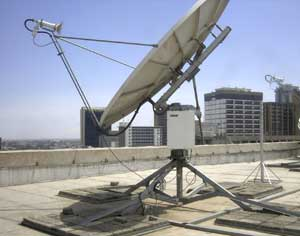 Satellite dish installation for Standard Chartered Bank