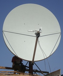 View of C band satellite dish in Africa