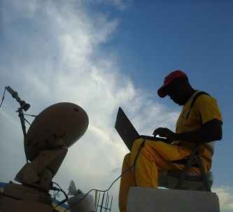 Mobile VSAT unit set-up in Djibouti