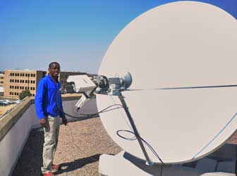Installation of C band VSAT dish with circular polarisation in Botswana