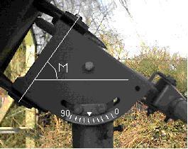Satellite dish polar mount main polar axis angle