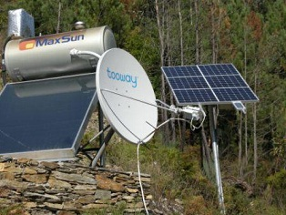 Use of solar power for internet connection