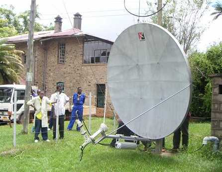Channelmaster 2.4m C-band dish antenna at mountain forest malaria research site near Amani, Tanzania