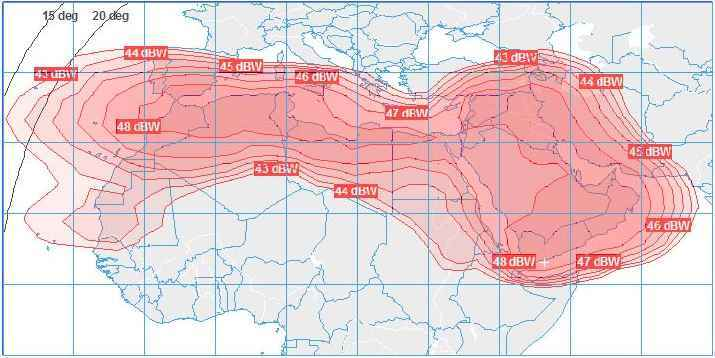 Satellite Internet on Arabsat 2B Middle East and North Africa Ku band beam