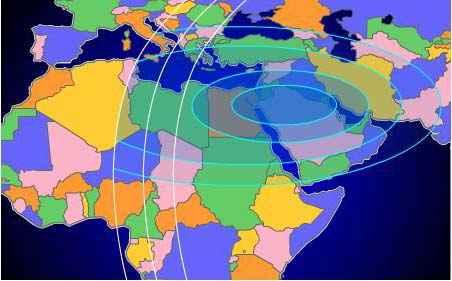 Intelsat 709 satellite beam coverage from 85 deg east longitude