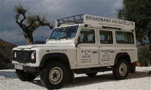 Mobile broadband satellite internet service vehicle