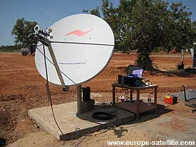 Hughes HX VSAT terminal with pole mount into concrete pad base