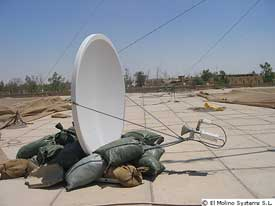 Tachyon dish with mount held down by sandbags