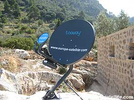 Tooway satellite broadband: Blue Ka band dish on universal tripod