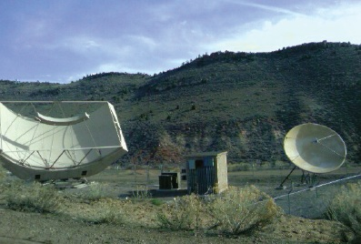 Simulsat antenna on the left