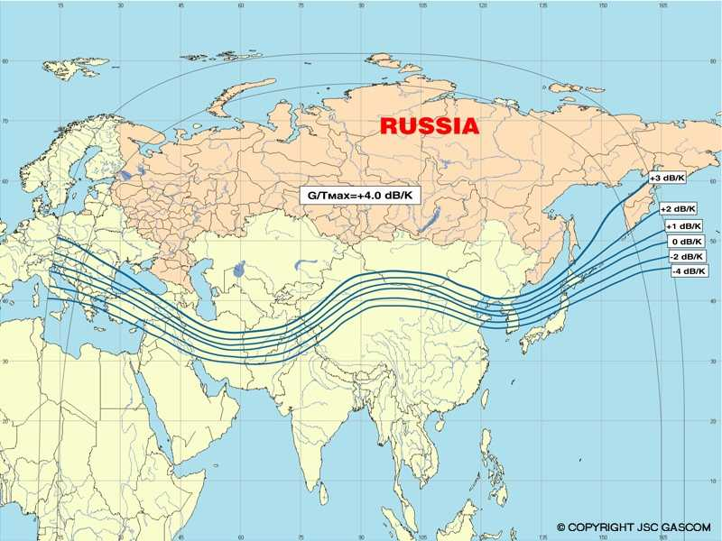 Uplink C band satellite beam coverage pattern for the Yamal 200 SC-2 satellite at 49 deg east