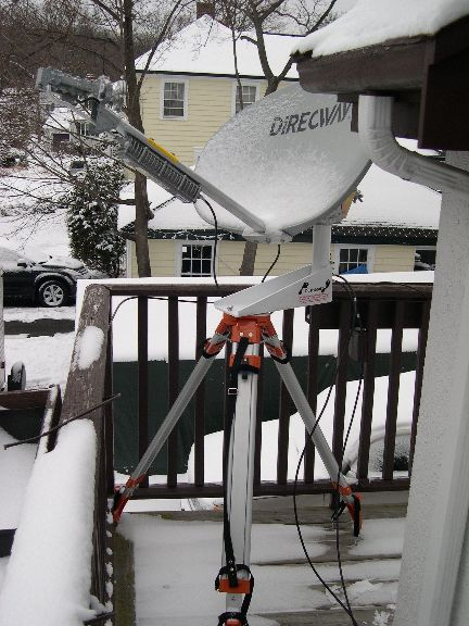 HughesNet dish mounted on the Dustyfoot tripod