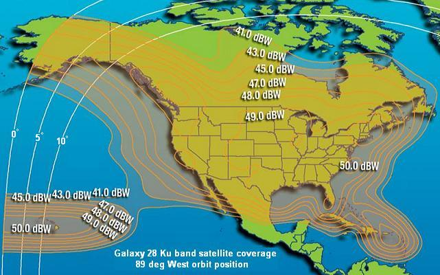 Galaxy 28 satellite North America beam coverage map