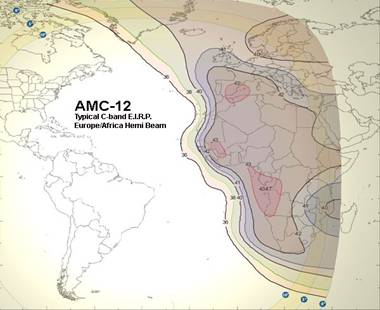 AMC-12 C band Africa satellite coverage