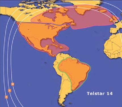 Satellite broadband service areas using the Telstar 14 satellite