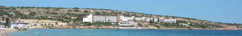 Mellieha bay hotel as seen across the bay from the town