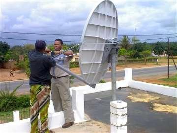 VSAT antenna installation in Mozambique