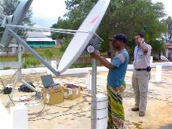 VSAT installer setting the beam elevation angle