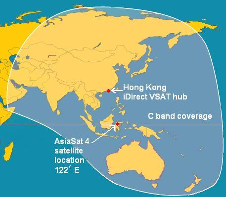 iDirect service for Asia/Pacific in AsiaSat 4 C band beam coverage