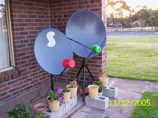 Ku band dish on tripod mount, pointing at Optus B3 satellite for receiving a pay satellite TV signal