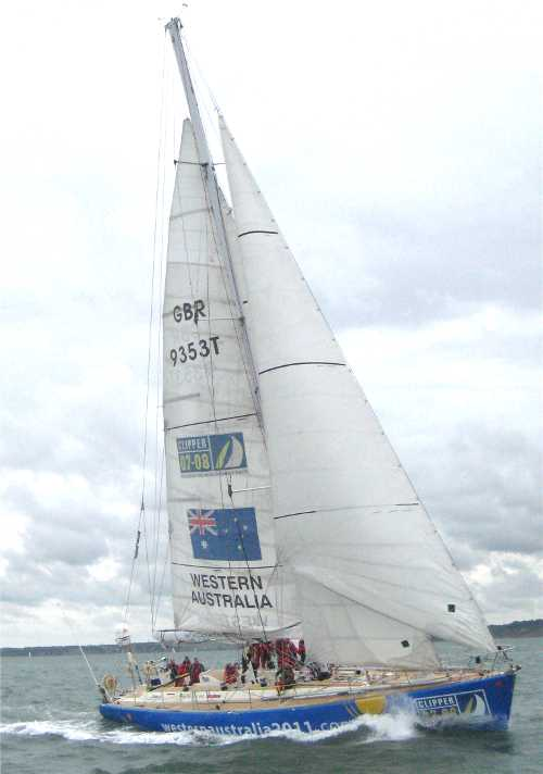 Reefed sail trim on Clipper Western Australia