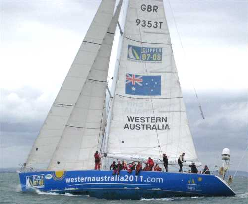 Sail trim on Clipper Western Australia