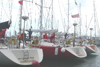 Several Clipper 68 sailing yachts