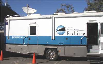 Ground Control VSAT dish used on Police mobile emergency vehicle