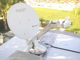 Motosat motorized VSAT dish on vehicle roof