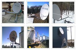 Six examples of satellite broadband dish installations in Alberta Canada