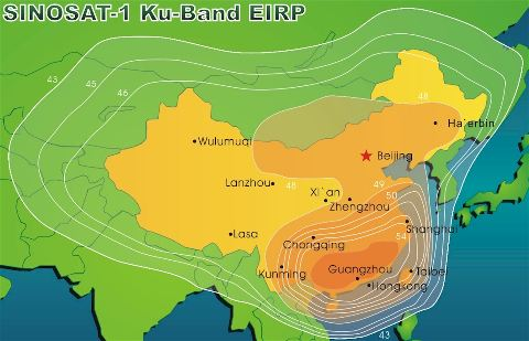 Sinosat-1 downlink Ku band beam coverage contours