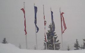 Flags on Schmittenh�he, near Zell-am-See