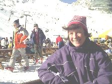 Chris sitting outside the Alpin Centre, after having lunch outside