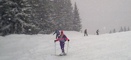 Skiing in the snow in Austria, Zell-am-See