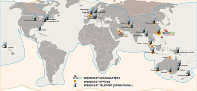 Speedcast worldwide network of NOCs and Teleports