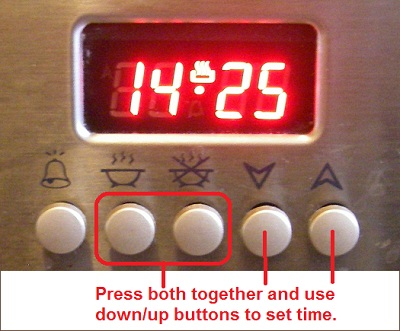 Picture of the time setting controls on CDA cooker