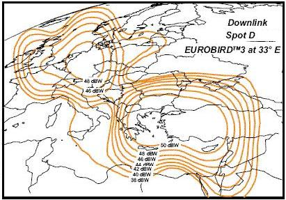 Eurobird 3 Spot D Downlink eirp contours