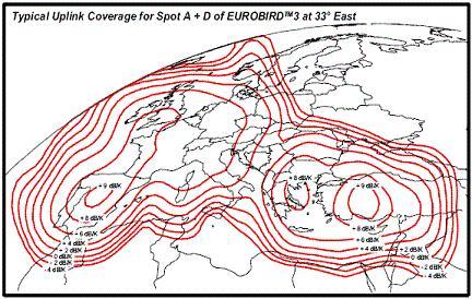 Eurobird 3 Spot D Uplink G/T contours