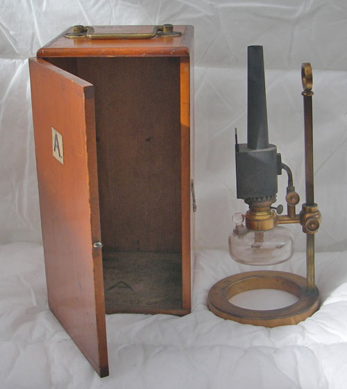 Antique microscope oil lamp with wooden case