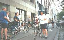 Starting on oue new bikes outside Hotel Lassalle, Vienna: Ready to start our cycle tour to Budapast