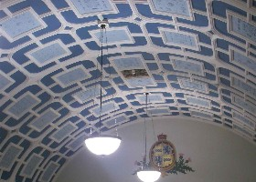 Ceiling of the Old Union Diner, where the afternoon country dance walk throughs were held