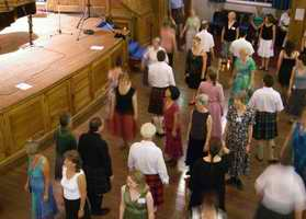 Scottish Country dancing an the well sprung wooden floor of the Younger Hall