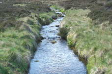 A stream or burn, one reason you need waterproof boots for walking in these areas.